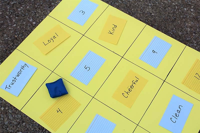 scout law index card game bean bag toss