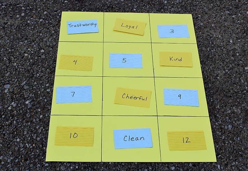 scout law index card game fill grid