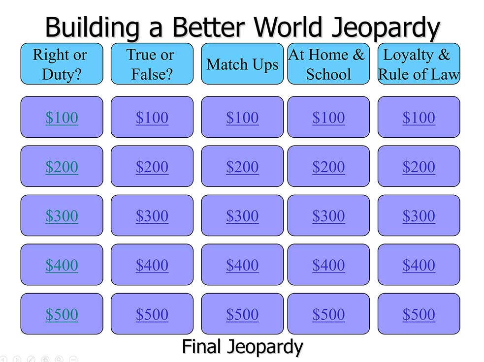 powerpoint version of webelos building a better world jeopardy