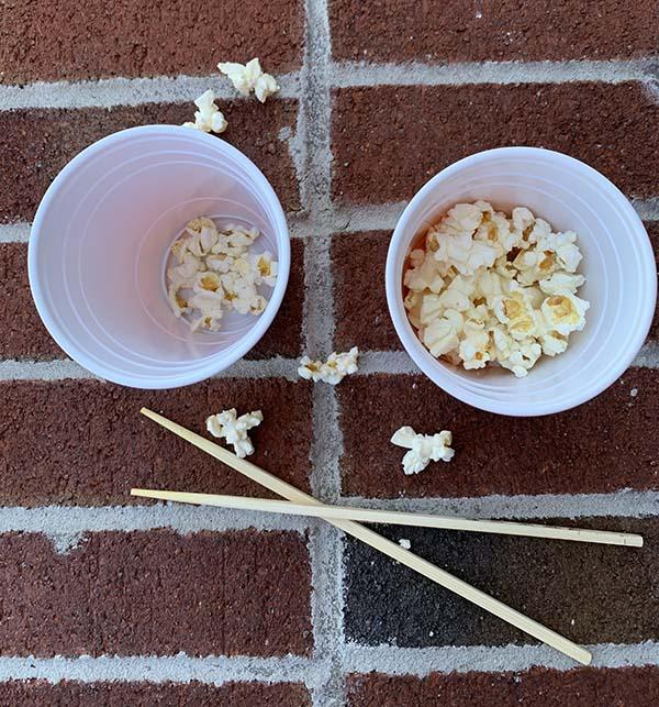 supplies for popcorn chopstick game