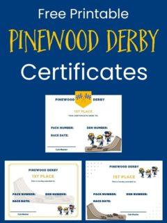 free printable pinewood derby certificates